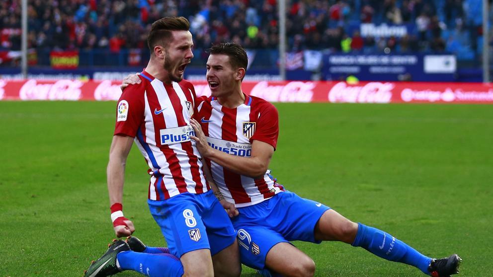 Saúl celebra su primer gol de la temporada. Foto vía La Vanguardia.