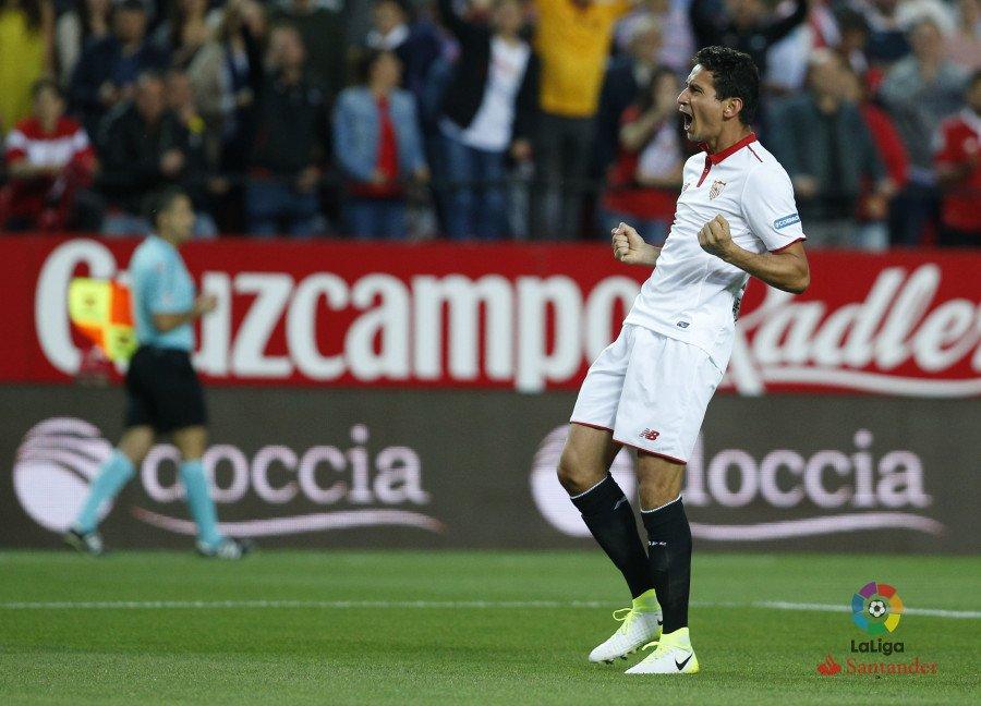 Ganso celebrando uno de sus goles, vía laliga.es