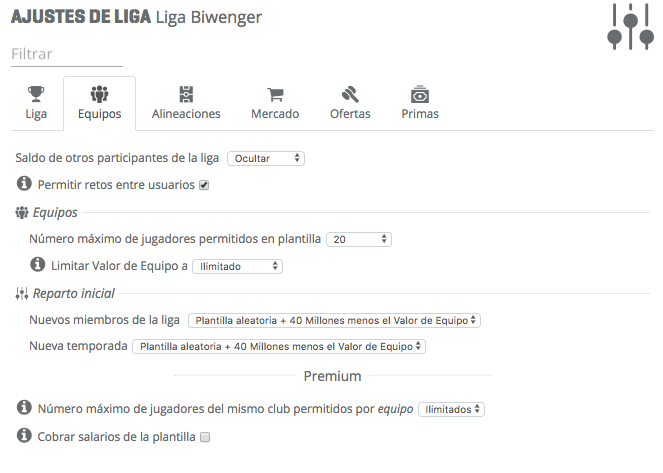 Paso 2 - Liga - Cómo configurar tu liga biwenger