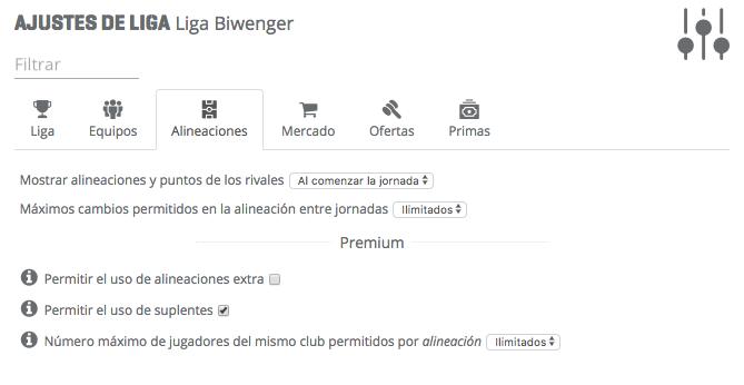 Paso 3 - Alineaciones - Cómo configurar tu liga biwenger