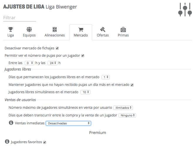 Paso 4 - Mercado - Cómo configurar tu liga biwenger