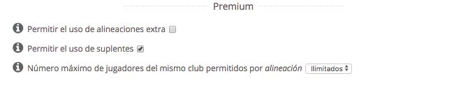 Liga Premium Biwenger - Alineaciones