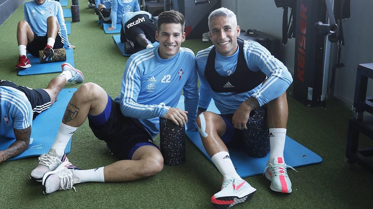 Santi Mina y Hugo Mallo