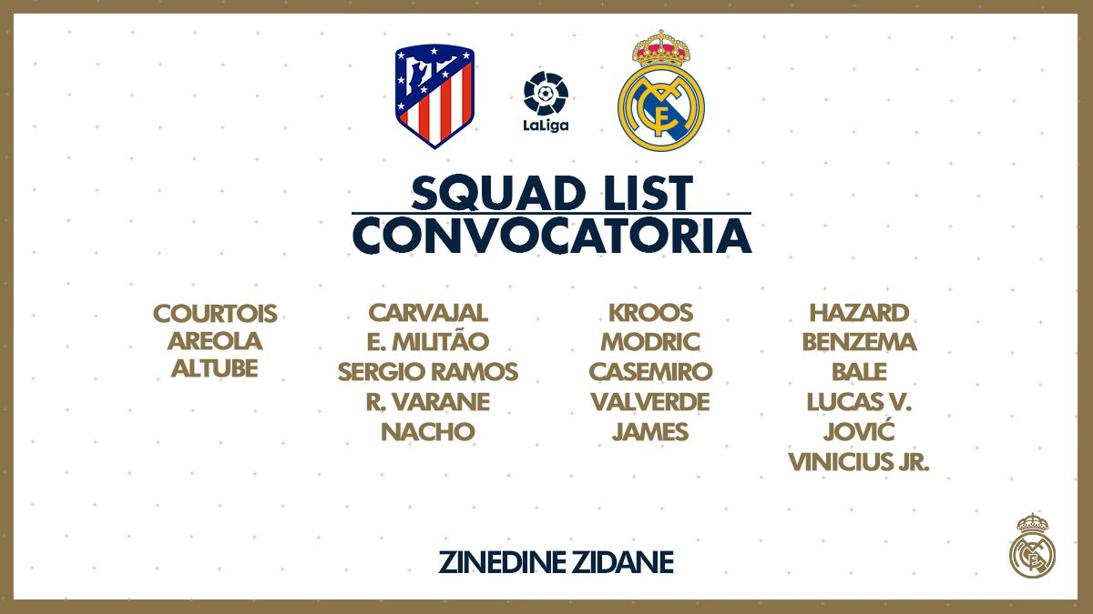 Convocatoria Atlético - Real Madrid