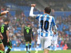 Oyarzabal celebra un gol