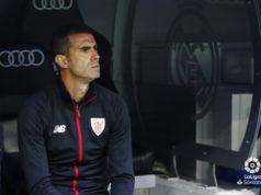 Garitano en el banquillo del Bernabéu