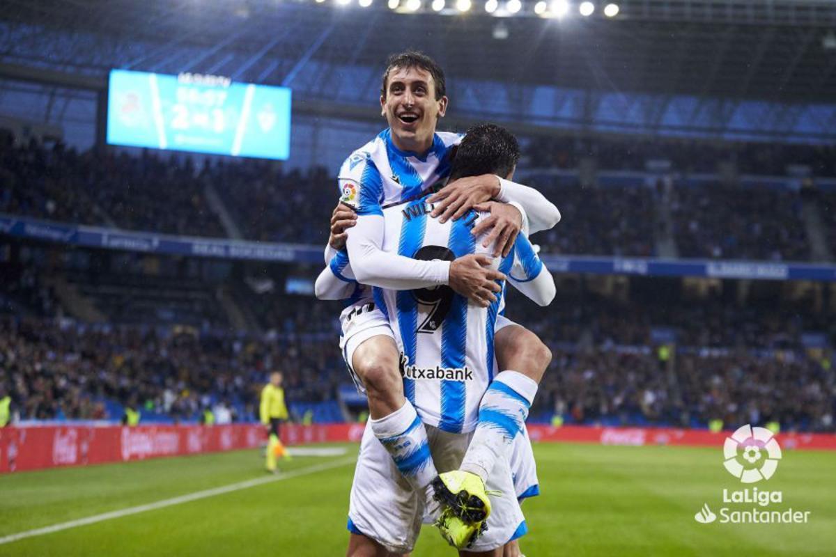 Oyarzabal celebra un gol en LaLiga