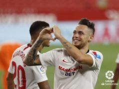Ocampos celebra un gol