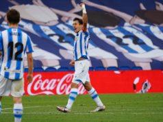 Oyarzabal celebra un gol con la Real Sociedad