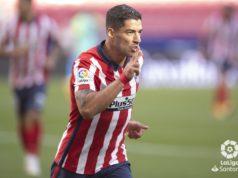Luis Suarez celebra un gol con el Atlético