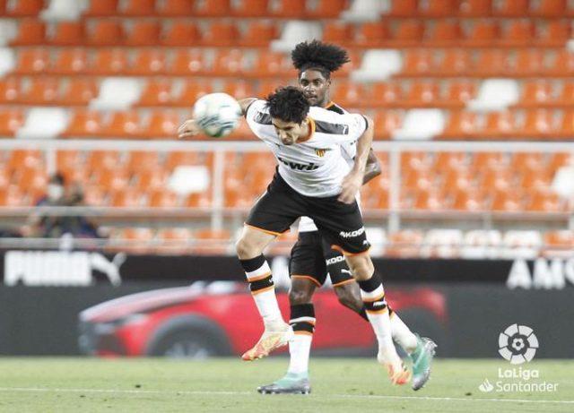 Soler durante un partido del Valencia