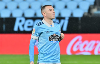 Iago Aspas celebrando un gol con el Celta