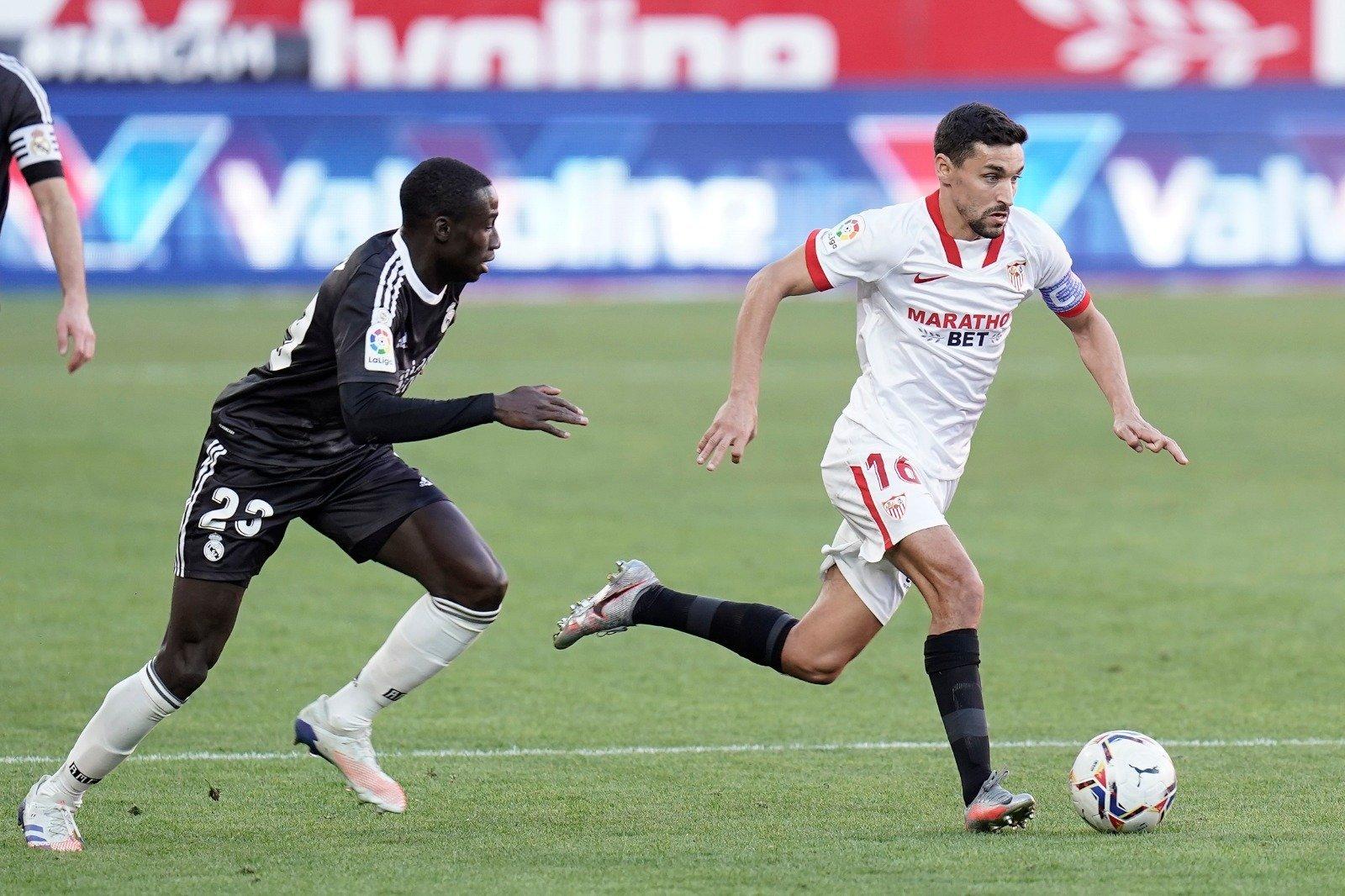 Jesús Navas en un partido con el Sevilla FC