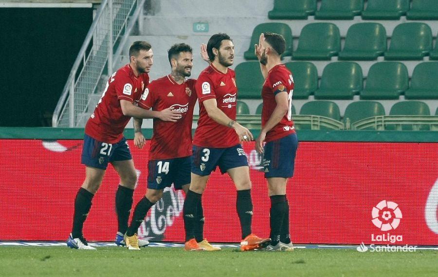 Osasuna celebra uno de los goles