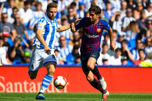 Illarramendi disputa un balón con Sergi Roberto