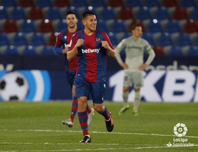 Duarte celebra un gol