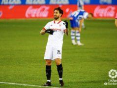 Suso celebra un gol con el Sevilla