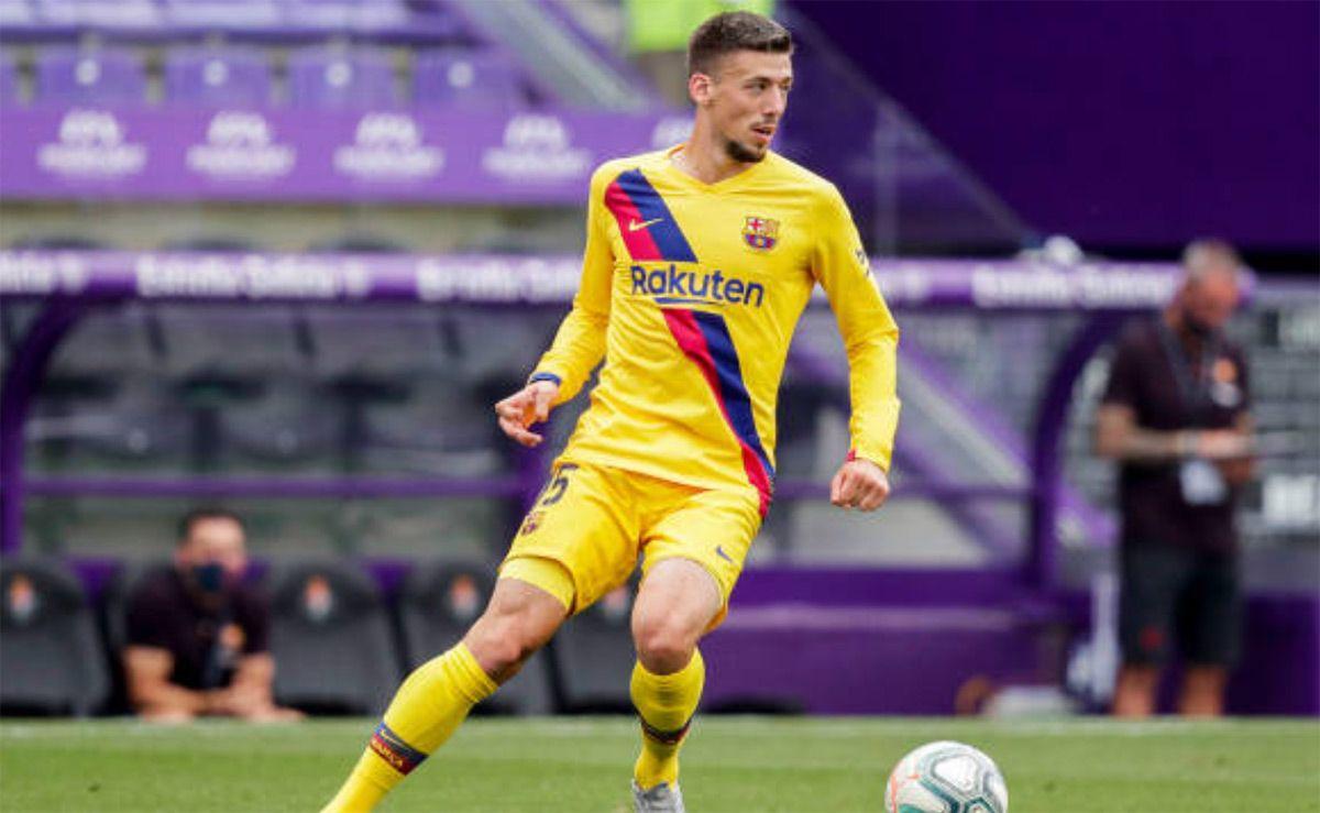 Lenglet, en un partido con el Barcelona