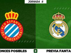 Alineaciones Posibles del Espanyol - Real Madrid - Jornada 8