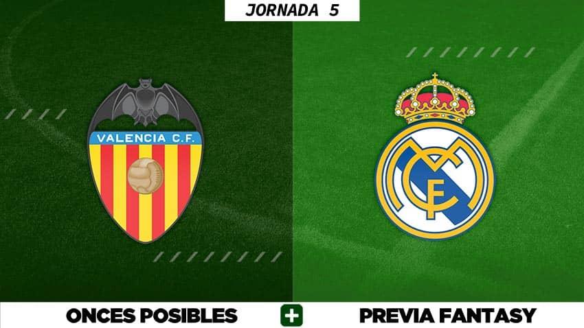 Alineaciones Posibles del Valencia - Real Madrid - Jornada 5