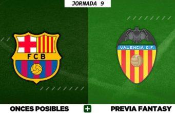Alineaciones Posibles del Barça - Valencia - Jornada 9