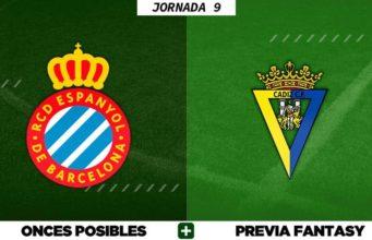 Alineaciones Posibles del Espanyol - Cádiz - Jornada 9