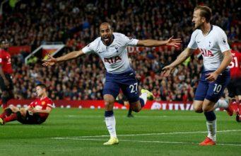 Lucas Moura, celebrando un gol con el Tottenham