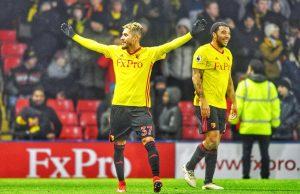 Roberto Pereyra, celebrando un gol con el Watford