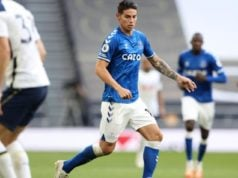 James Rodríguez en su debut con el Everton